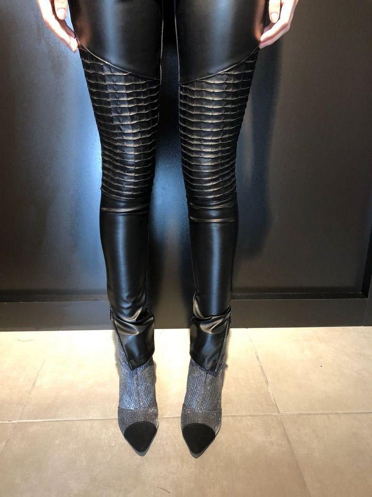 Calça Skinny Nervurada Couro Ecológico - Anelise